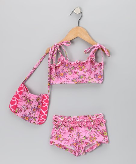 Pink Janea's World Anna Bikini & Shoulder Bag - Toddler