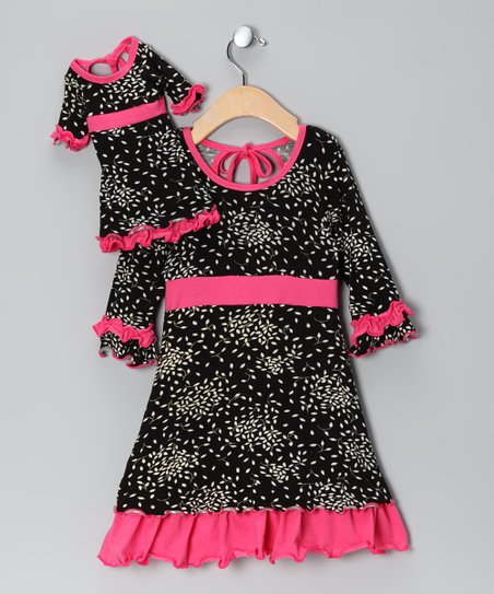 Black & Pink Cecilia Dress & Doll Outfit