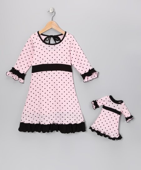 Soft Pink & Black Cecelia Dress & Doll Outfit