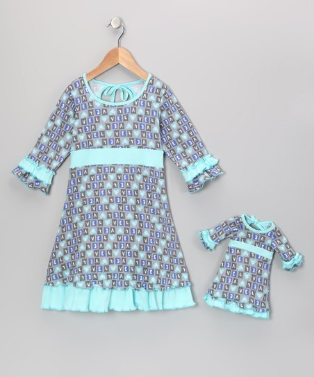 Teal &amp; Gray Cecelia Dress &amp; Doll Outfit