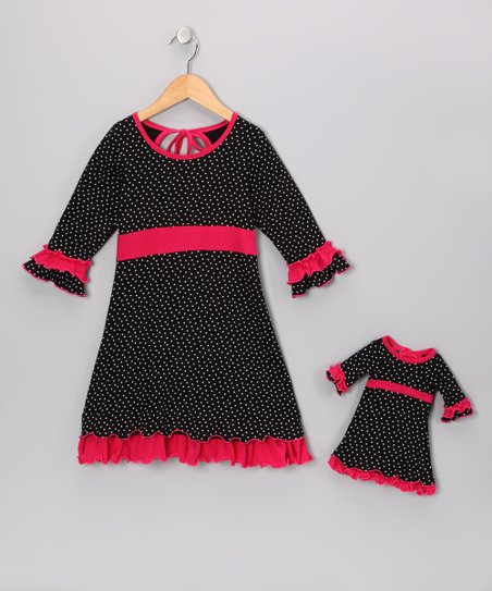 Black & Pink Cecelia Dress & Doll Outfit
