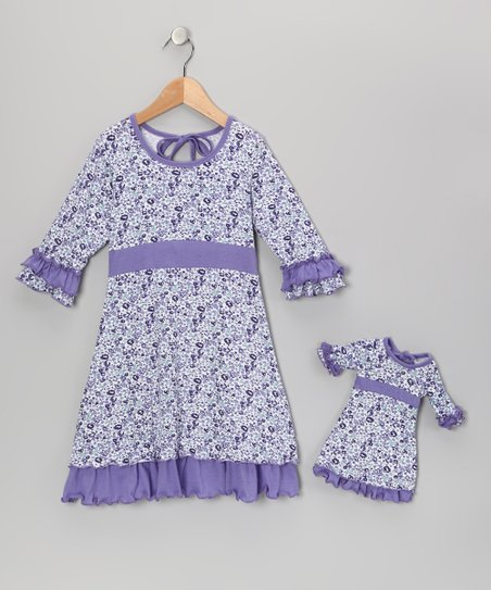 Violet Floral Cecelia Dress &amp; Doll Outfit