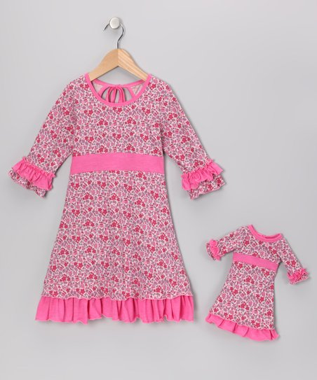Pink Floral Cecelia Dress & Doll Outfit - Girls