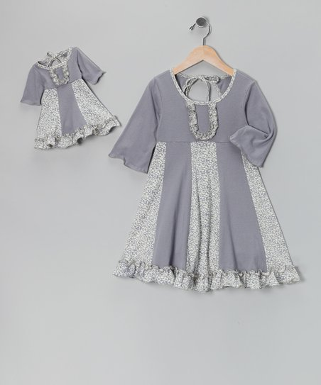 4EverPrincess Gray & White Sarah Dress & Doll Outfit - Girls