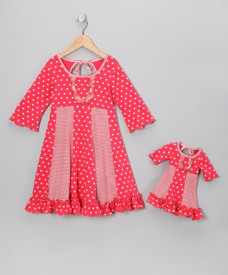 Coral Pink Heart Sarah Dress & Doll Outfit