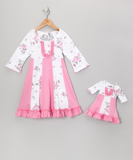 Pink & White Floral Sarah Dress & Doll Outfit – Girls