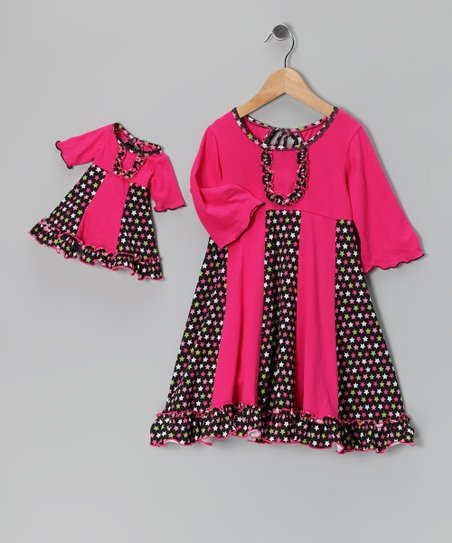 Pink & Black Sarah Dress & Doll Dress - Girls