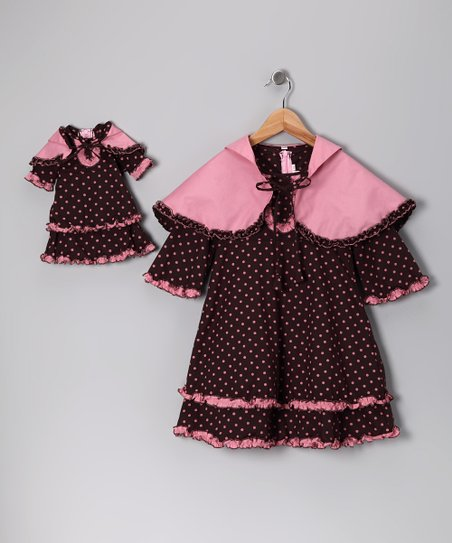 Brown Polka Dot Cape Dress & Doll Outfit - Girls