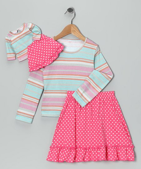 Pink & Blue Chelsea Skirt Set & Doll Outfit – Girls