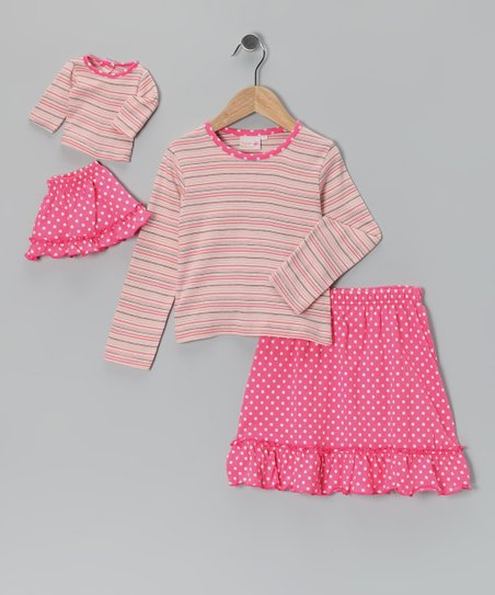 Pink Chelsea Skirt Set & Doll Outfit