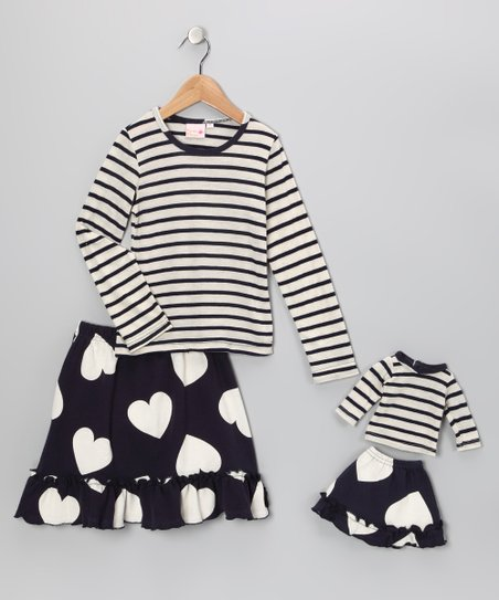 Navy Stripe Chelsea Skirt Set & Doll Outfit - Girls