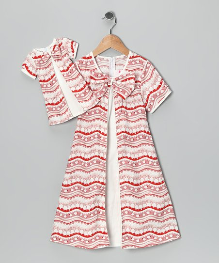 4EverPrincess Red & White Lauren Dress & Doll Outfit - Girls