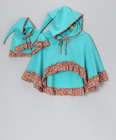 4EverPrincess Blue Poncho & Doll Outfit - Girls