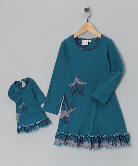 Blue Sophia Dress & Doll Outfit - Girls