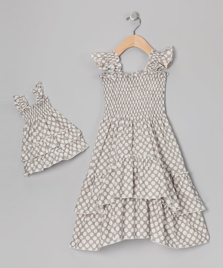 Beige Polka Dot Smocked Dress & Doll Outfit - Toddler