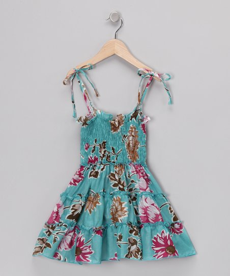 4EverPrincess Blue Floral Gypsy Dress - Toddler & Girls