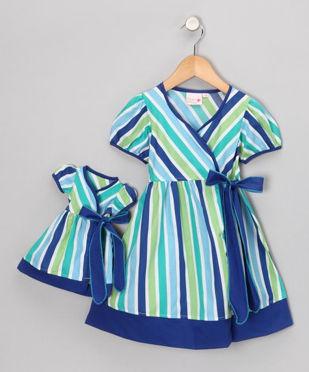 Blue Stripe Wrap Dress & Doll Outfit - Toddler & Girls