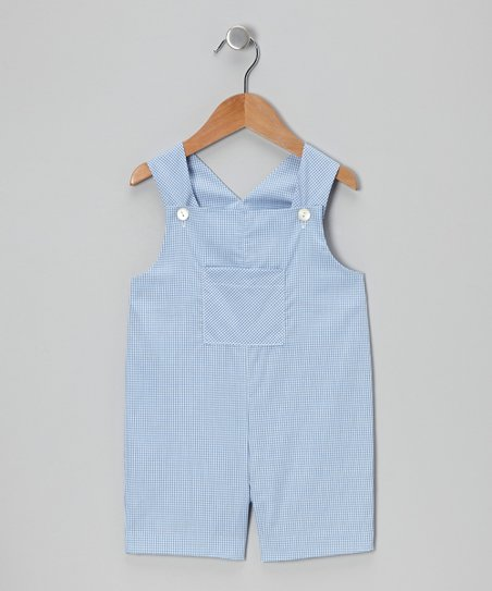 Light Blue Gingham Pocket Shortalls - Infant & Toddler
