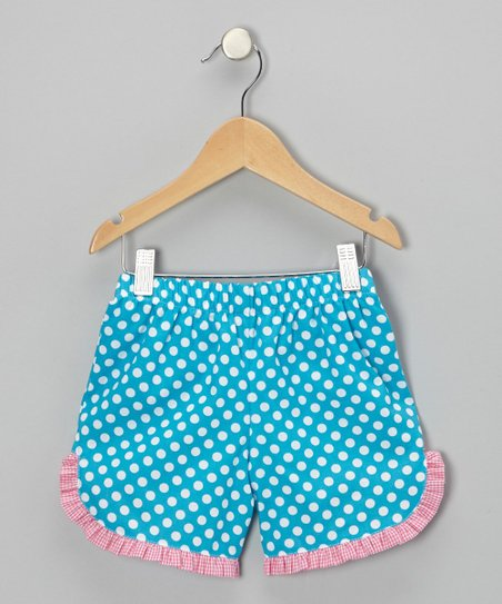Turquoise Polka Dot Ruffle Shorts - Infant & Toddler
