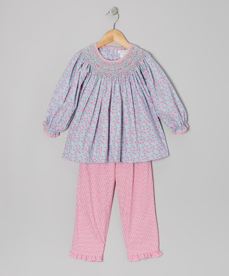 Blue Floral Smocked Tunic & Pants - Infant & Toddler