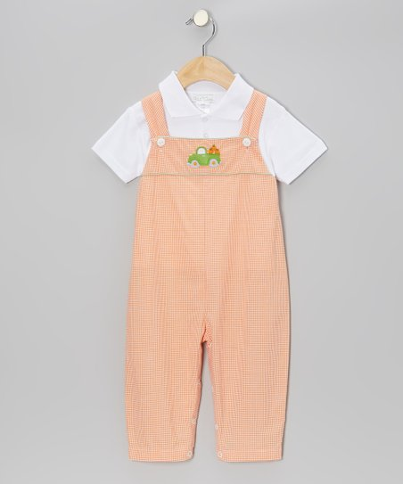 White Polo & Orange Pumpkin Truck Overalls - Infant