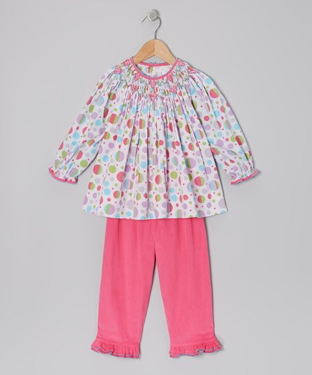 Pink Polka Dot Smocked Tunic & Corduroy Pants - Infant & Toddler