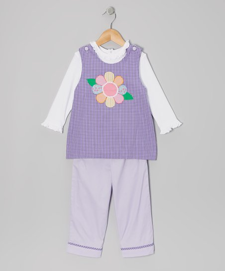 Purple Flower Gingham Tunic Set - Toddler