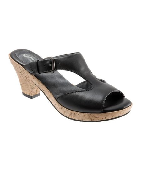 Black Camden Leather Peep-Toe Sandal - Women