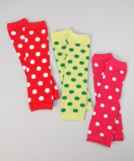 Bright Polka Dot Leg Warmers Set