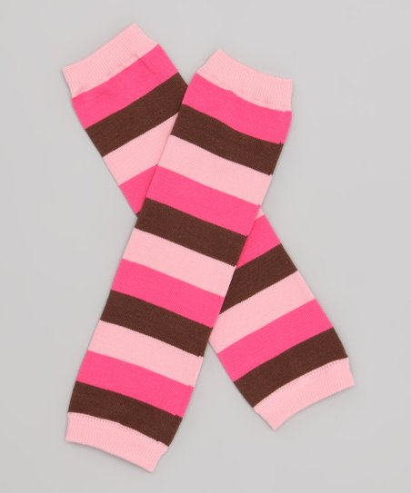 Pink & Brown Stripe Leg Warmers