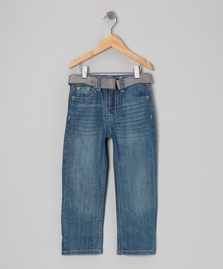 Light Blue Slim Straight-Leg Jeans & Belt - Toddler