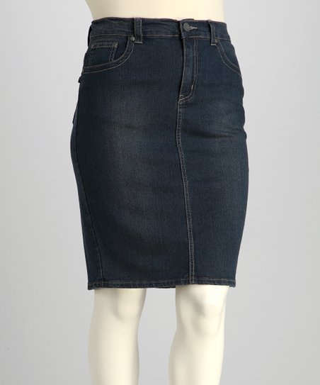 Medium Wash Embroidered Plus-Size Denim Skirt