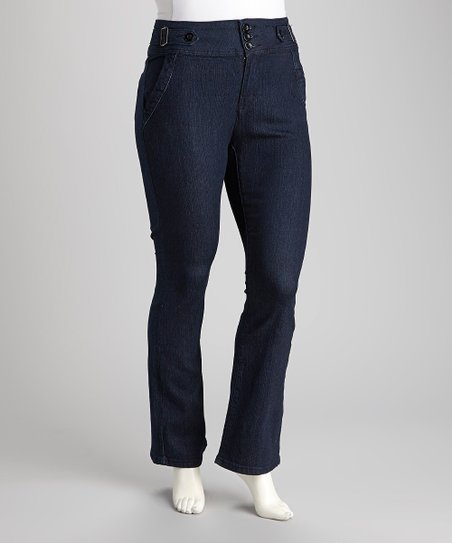 Dark Blue Denim Bootcut Jeans - Plus
