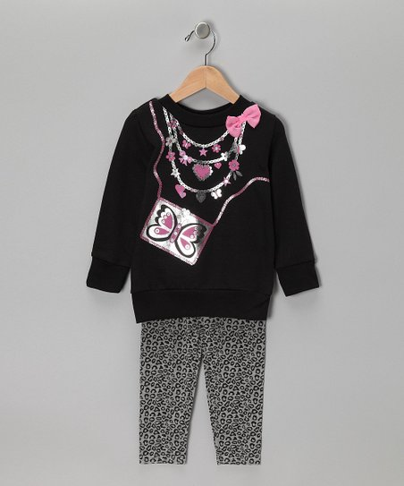 Black Butterfly Sweatshirt & Leggings - Infant, Toddler & Girls