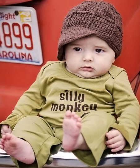 Olive 'Silly Monkey' Long-Sleeve Tee - Infant