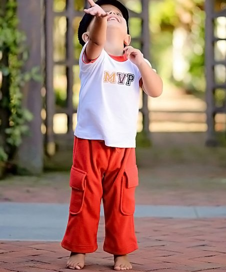 Red Fleece Cargo Pants - Infant & Toddler
