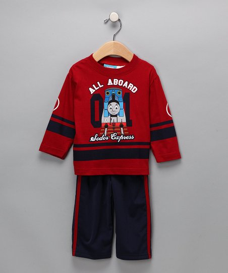 Red 'All Aboard' Tee & Pants
