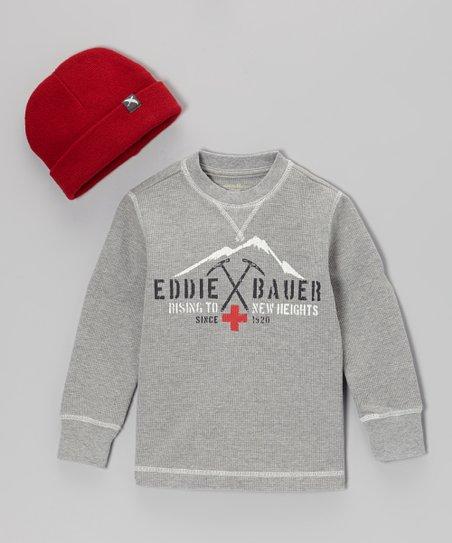 Heather Gray 'Eddie Bauer' Tee & Red Beanie - Toddler & Boys