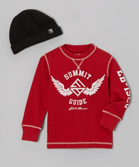 Crimson 'Summit Guide' Tee & Black Beanie - Toddler & Boys