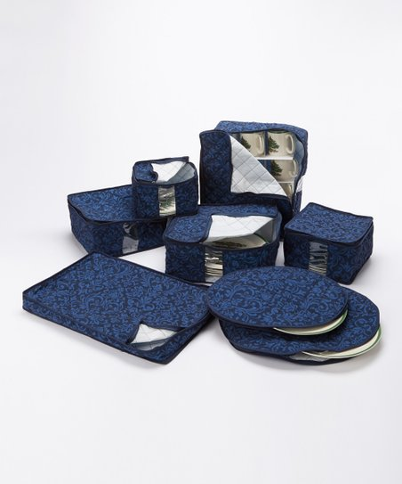 Navy Damask China Storage Container Set