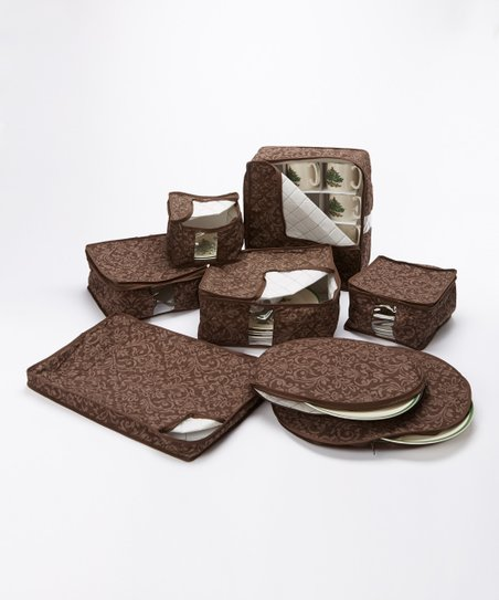 Brown Damask China Storage Container Set