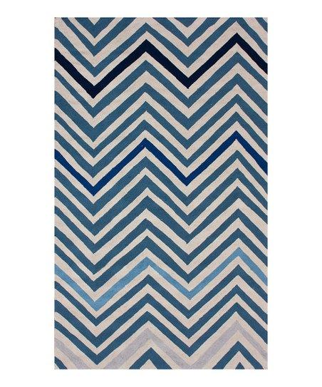 Blue Taza Zigzag Wool Rug