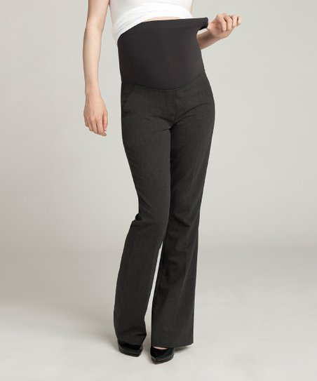 Charcoal Heather Wool-Blend Over-Belly Maternity Bootcut Pants