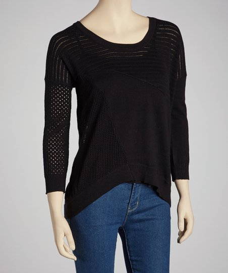 Black Multi-Stitch Sidetail Sweater