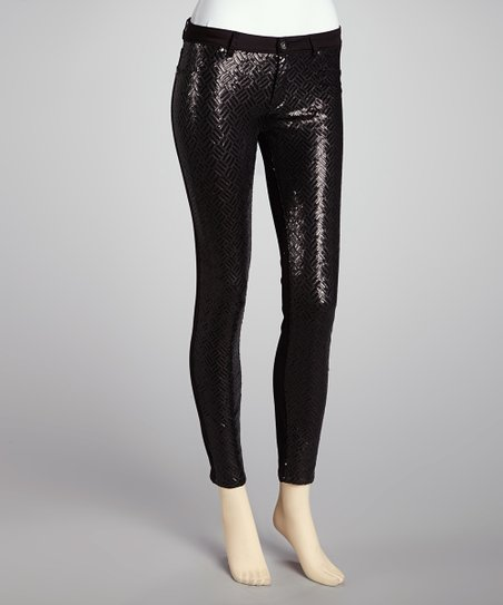 Black Sequin Skinny Jeans