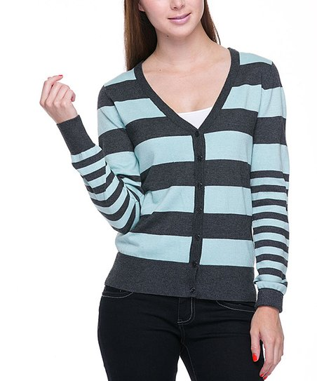 Charcoal Gray & Mint Stripe Cardigan