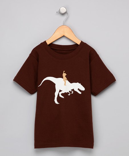 Brown Dino Rider Tee - Toddler & Kids