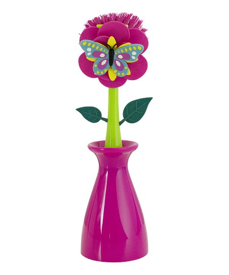 Pink Butterfly Kitchen Brush & Vase