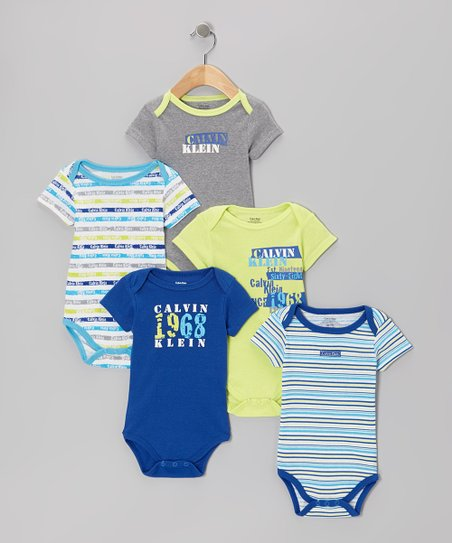 Blue & Yellow 'Established 1968' Branded Bodysuit Set