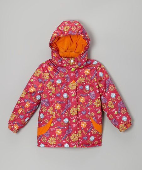 Fuchsia Flower Snow Jacket - Infant, Toddler & Girls